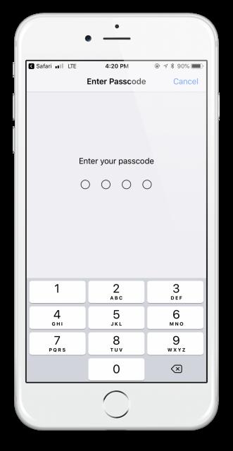 passcode ios iphone