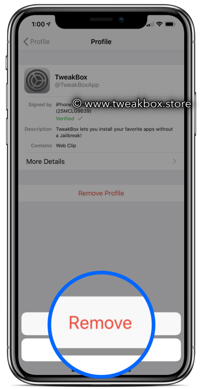 delete tweakbox profile i
