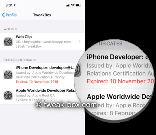 tweakbox certificate expired