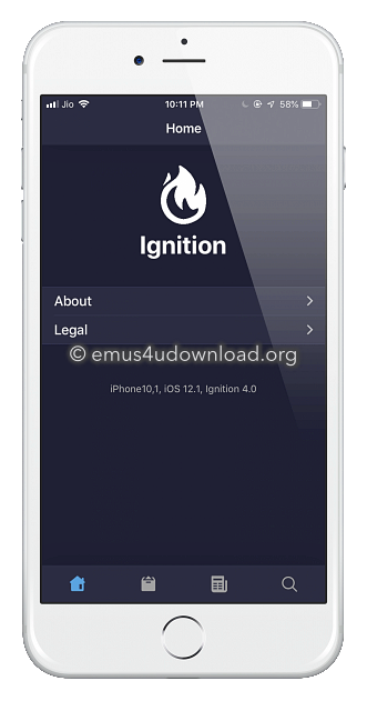 ignition app homescreen