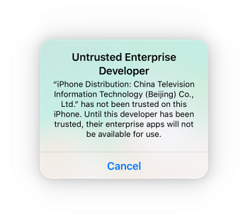 untrusted-enterprise-developer error