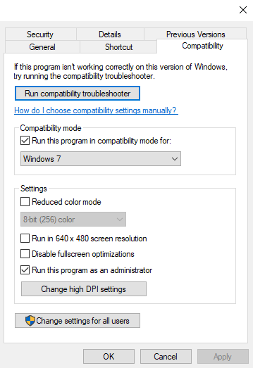 Run this Program in Compatibility Mode for Windows 7