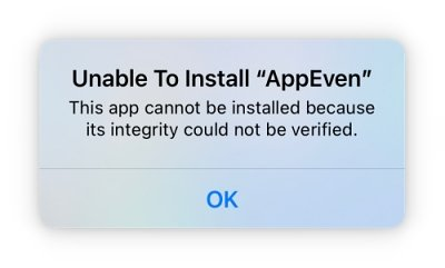 unable to install AppEven