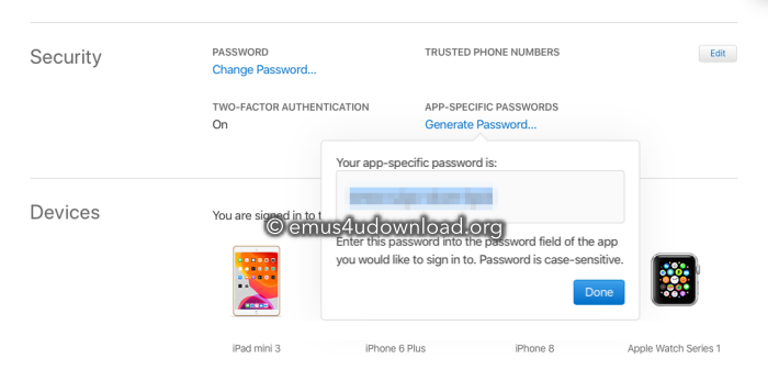 generate app specific password app download
