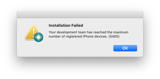 your development team has reached the maximum number of registered iphone devices